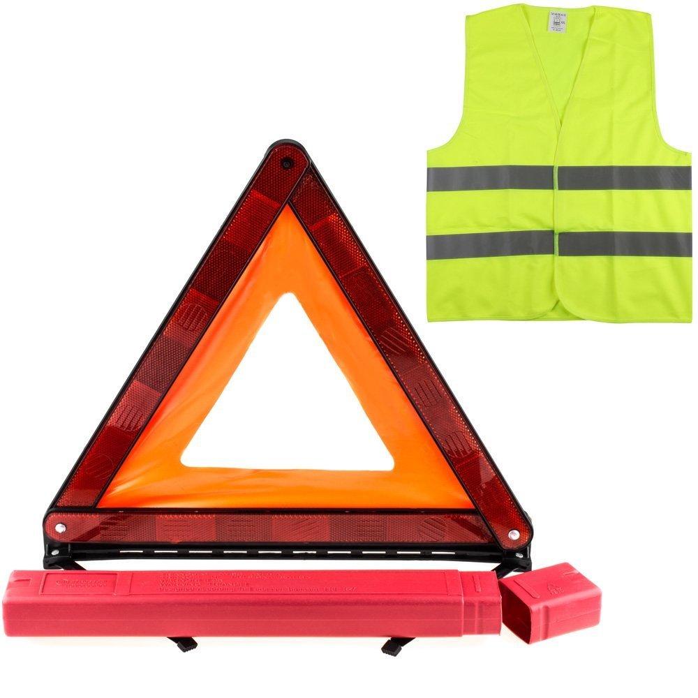 YOUYIYI Kits d'urgence pour Auto, Triangles de Signalisation, Gilets de Sé curité , Kit Triangle Gilet Homologue, Kit auto sé curite Gilets de Sécurité Kit auto sécurite