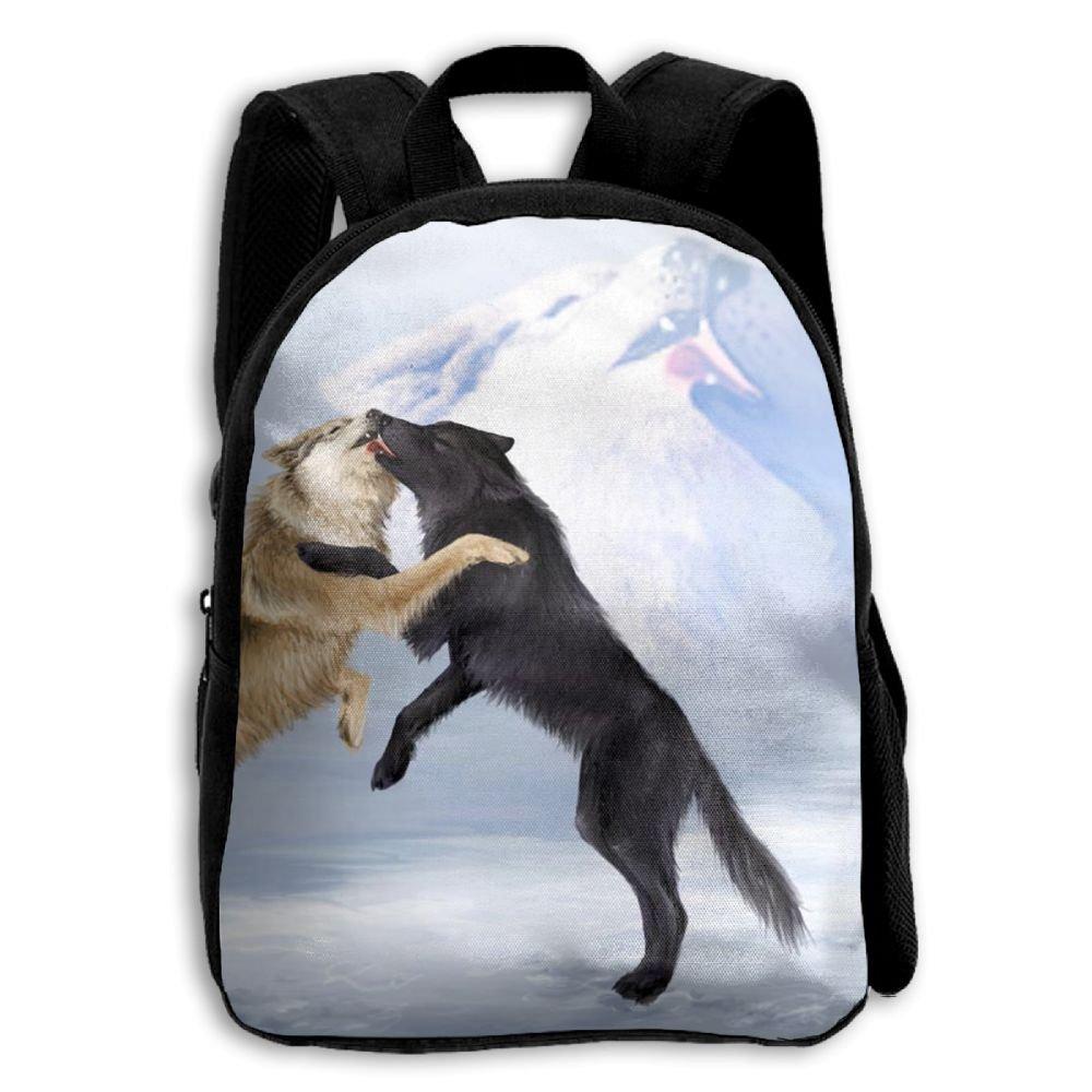 fidaljf Wolf Mates Love Kiss子供の3dプリントファスナー付き旅行バッグ学校バックパック   B07DNB1SK5