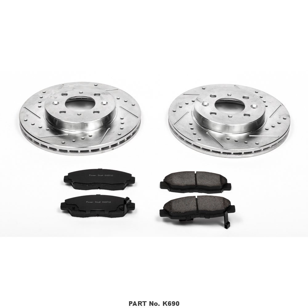 Power Stop K690 Front Z23 Evolution Brake Kit with Drilled/Slotted Rotors and Ceramic Brake Pads