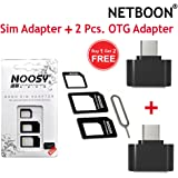 NETBOON® 2Pcs OTG Adapter + 4 in 1 Sim Card Adapter With eject pin for iphone,ipad and all Mobiles