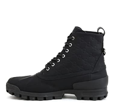 f57642cff0e Gucci Men's Black Leather Guccissima Lace-up Boot 269992 1000 US 12:  Amazon.co.uk: Shoes & Bags