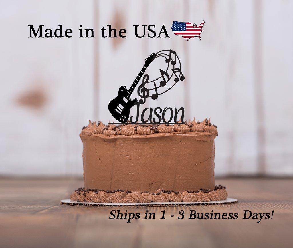 Brilliant Guitar Cake Topper With Free Keepsake Base Music Treble Clef Personalised Birthday Cards Akebfashionlily Jamesorg