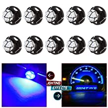 CCIYU 10 Pack Blue T5 Neo Wedge 3 SMD Led Bulbs A/C Climate Control LED Light Dash Base Light Lamps 12V