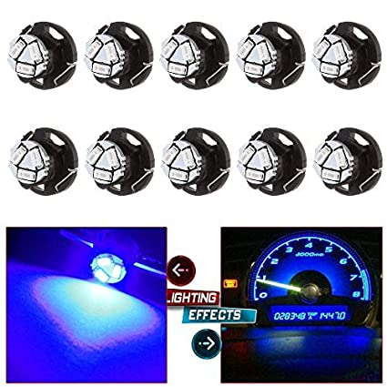 Blue Pack of 2 Partsam T5 T4.7 Neo Wedge Instrument Dashboard LED Light Bulbs 12mm 12V 3-SMD A//C Climate Heater Controls Instrument Panel Gauge Cluster Dashboard LED Light Bulbs Set