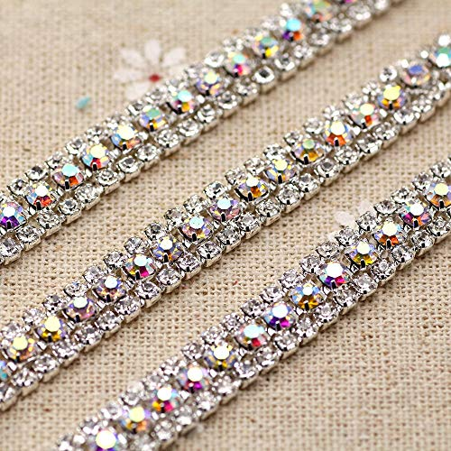 1Yards/roll 3Rows DIY Silver White AB Rhinestone for Women- Applique Clear Crystal Rhinestone Silver Chain Sew On Rhinestone- Clear Crystal Rhinestones- Crystal Rhinestone Chainfor Crafts