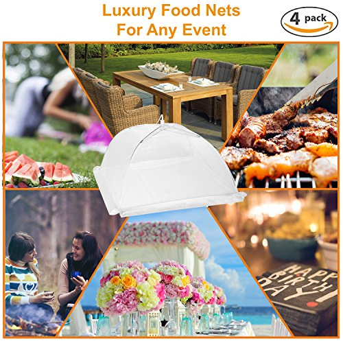 Luxury Food Nets | Pack of 4 | Easy Pop Up and Collapsible Umbrella | White Mesh Bug Net | Cake Cover | Reusable Outdoor BBQ Food Tent | 2 Sizes | Mosquito and Insect Screen | Keep Bugs Out by Aunty Claudia's Covers (Image #6)