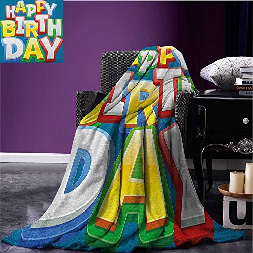 Kids Birthday cool blanket Rainbow Colored Happy Birthday Quote Typography on Blue Color Backdrop Print Pattern Multicolor size:60