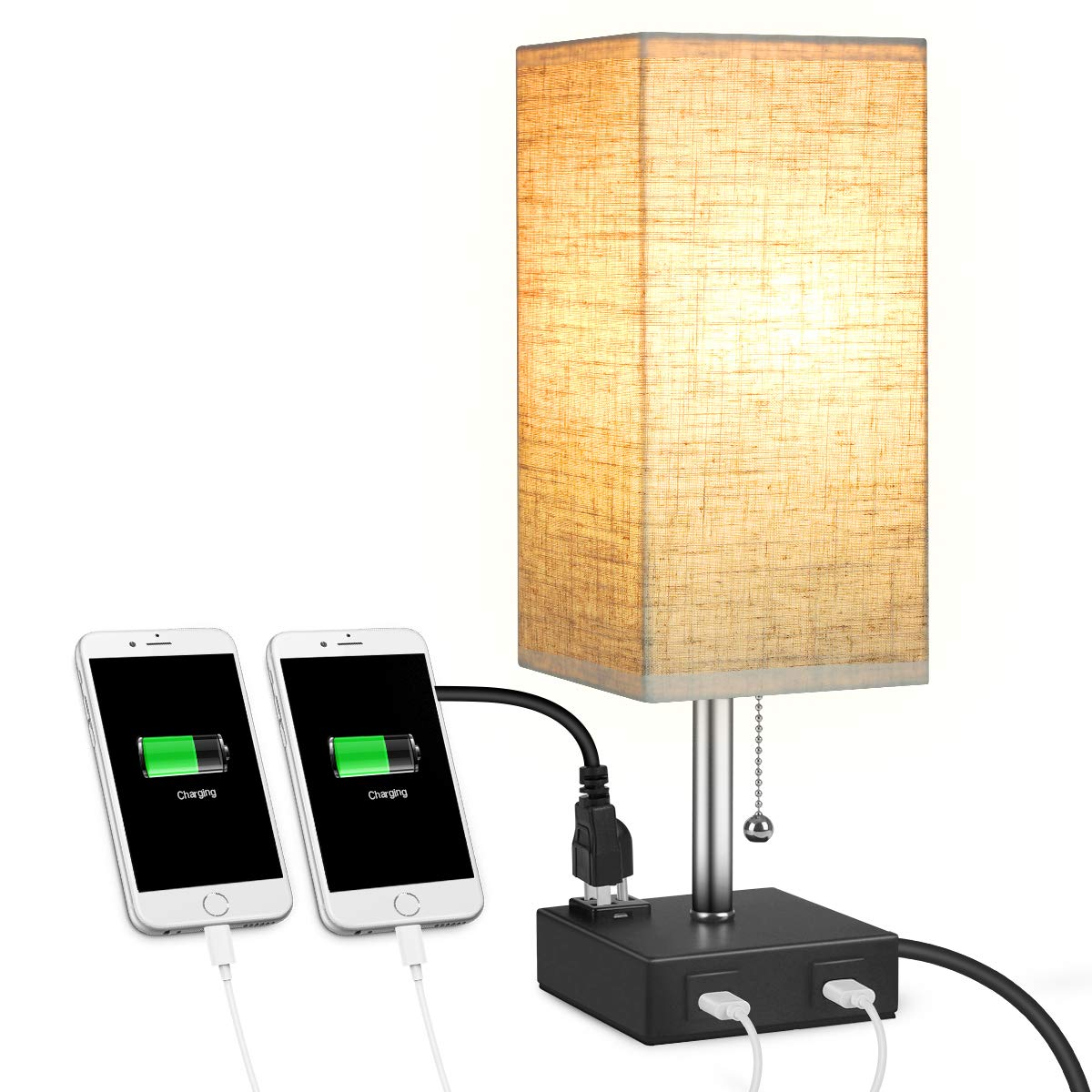 USB Bedside Table Lamp, MOICO Square Fabric Shade Nightstand Lamp with 2 USB Charging Port and one AC Outlets, Modern Design Desk Lamp for Bedroom, Dresser, Living Room, Kids Room, College Dorm