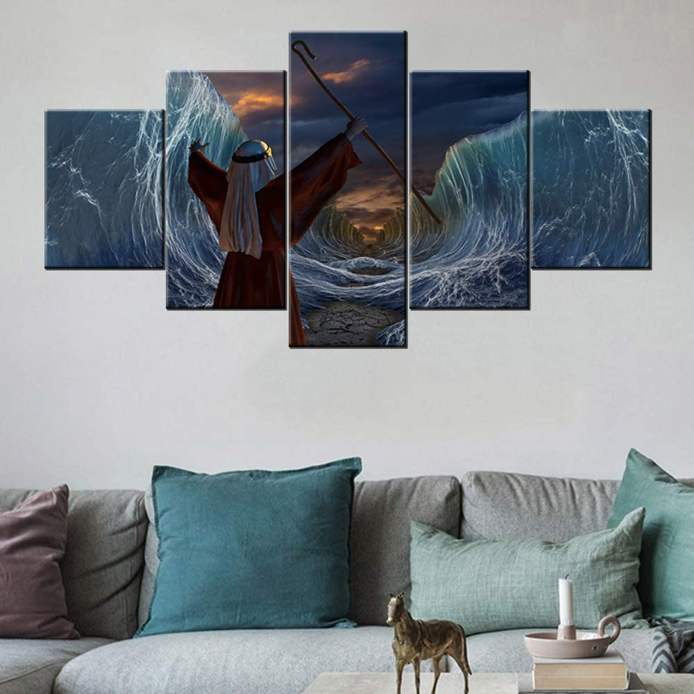 Judaism Wall Decor the Man of God Pictures Moses Separate the Sea Paintings Religious Artwork 5 Pcs/Multi Panel Canvas Home Decor for Living Room Giclee Wooden Framed Ready to Hang(60''Wx32''H)