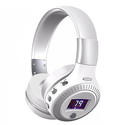Elegiant - Auriculares Bluetooth estéreo de alta fidelidad plegables, con micrófono incorporado, radio FM