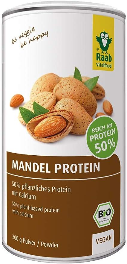 RAAB VITALFOOD Proteína Almendra Natural Polvo Raab, 200 g 200gr. Bio SG Vegan, Plástico