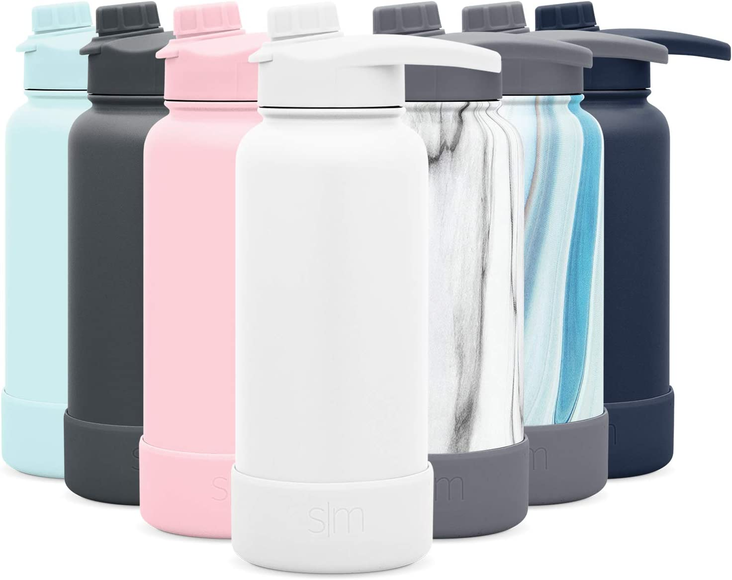 Simple Modern 32 Ounce Summit Water Bottle with Chug Lid & Protective Boot - Hydro Vacuum Insulated Flask 18/8 Stainless -Winter White