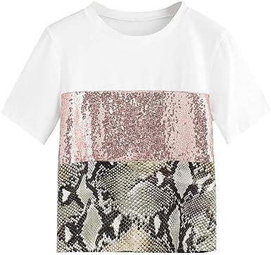 Oliviavan Camisetas de Mujer, Camiseta Casual Moda para Mujer Estampado de Leopardo Lentejuelas Empalme Manga Corta Camiseta de Mujer Blusa Camisa Básica: Amazon.es: Ropa y accesorios