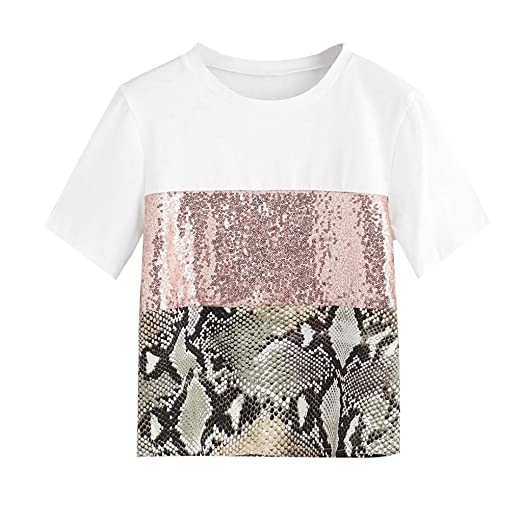 3c8f66efe6e5fa Women Sequin Patchwork Tops🔅 Summer Round Neck Short Sleeve Tee Shirts -  Fashion Casual