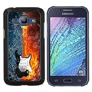 YiPhone /// Prima de resorte delgada de la cubierta del caso de Shell Armor - El agua y el fuego de la guitarra - Samsung Galaxy J1 J100