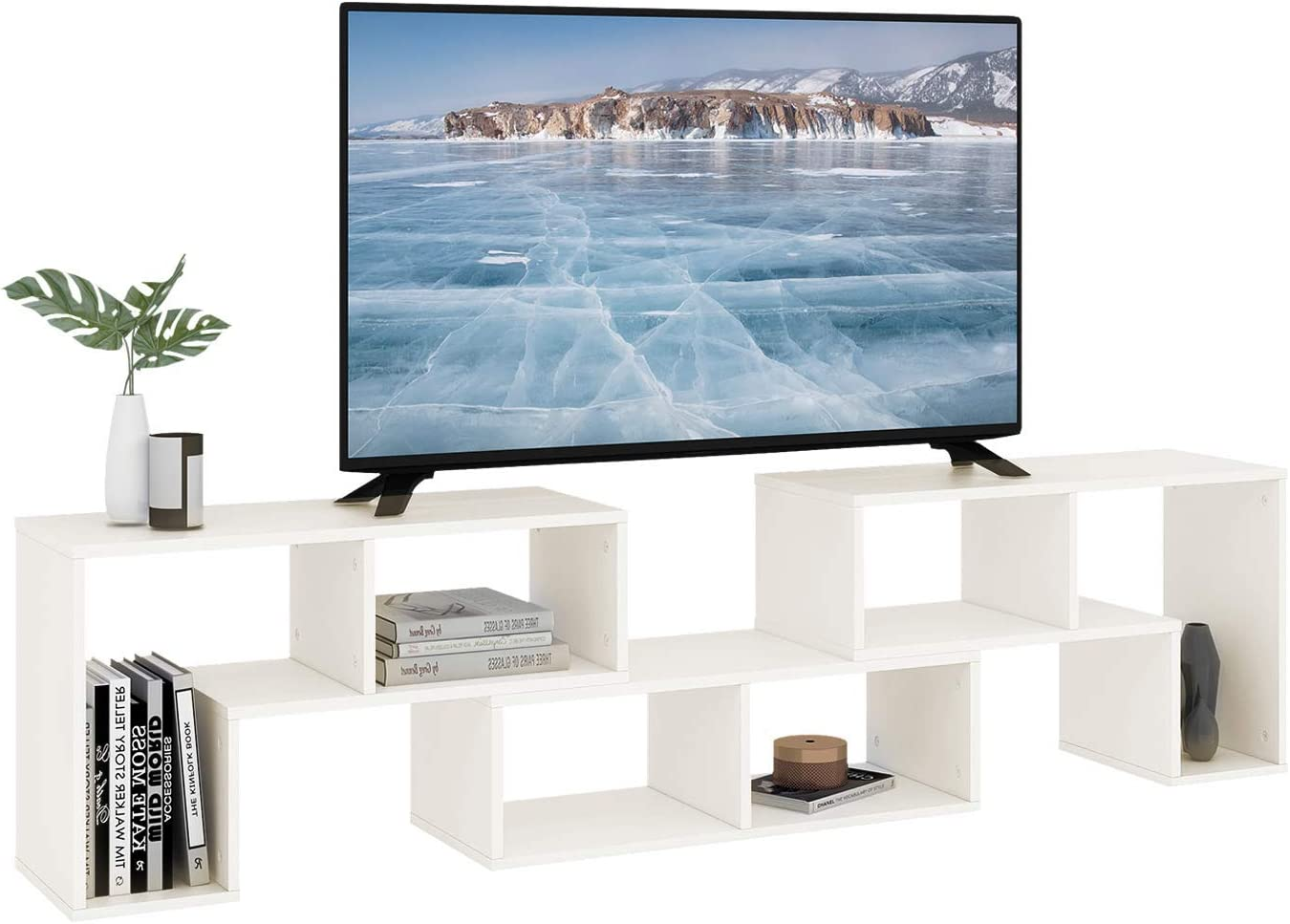 Amazon Com Devaise 3 Pieces Tv Console Stand Tv Table Modern Entertainment Center Media Stand Storage Bookcase Shelf For Living Room White Furniture Decor