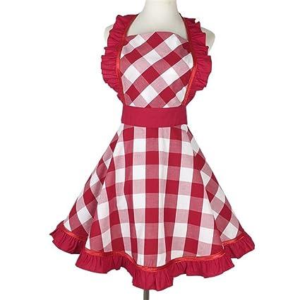 Amazon.com: Turbokey Red Retro Kitchen Aprons Woman Girl ...