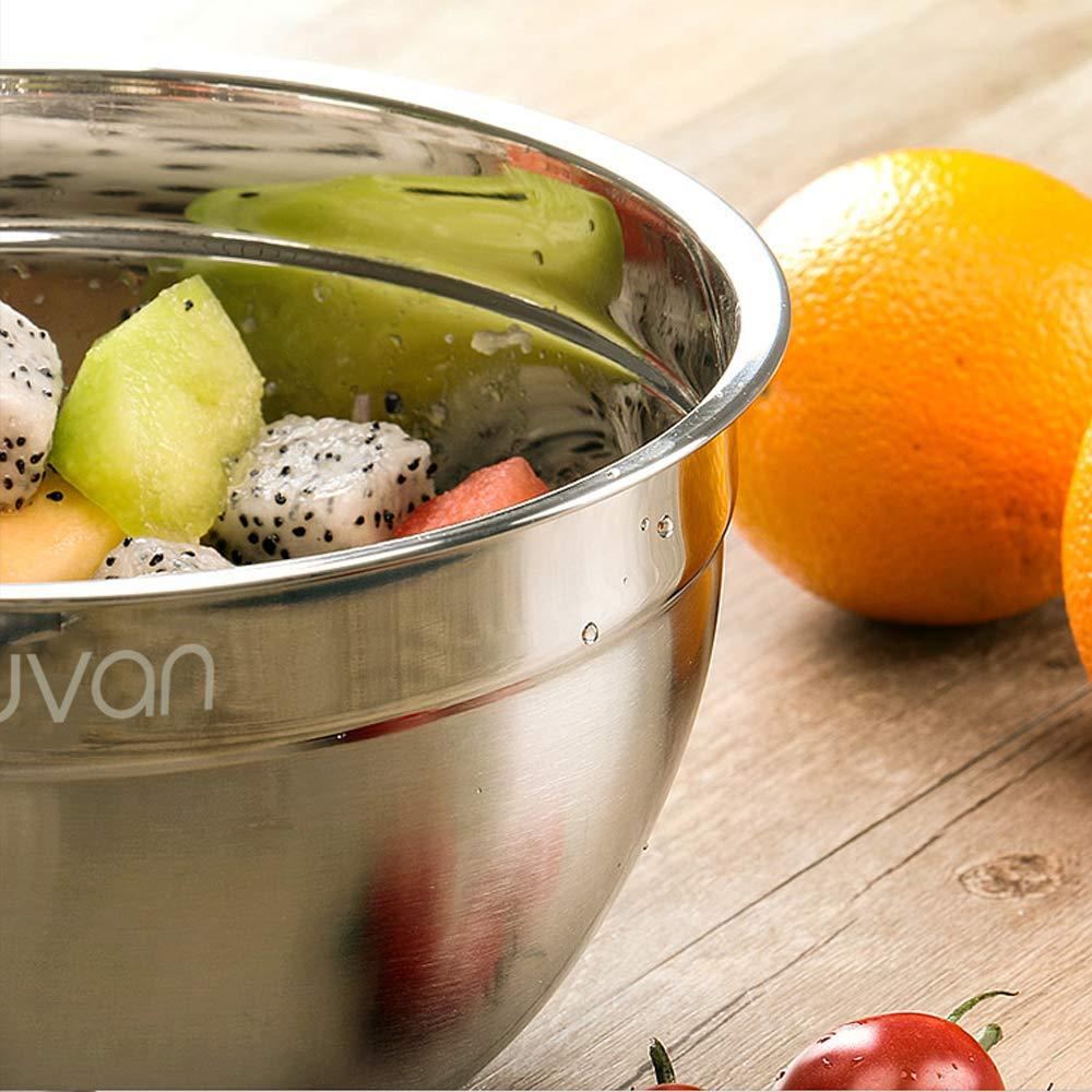 Luvan Cuencos mezcladores de boles de acero inoxidable 304,con bordes anchos para un agarre y vertido fáciles,extraprofundos para porciones generosas ...