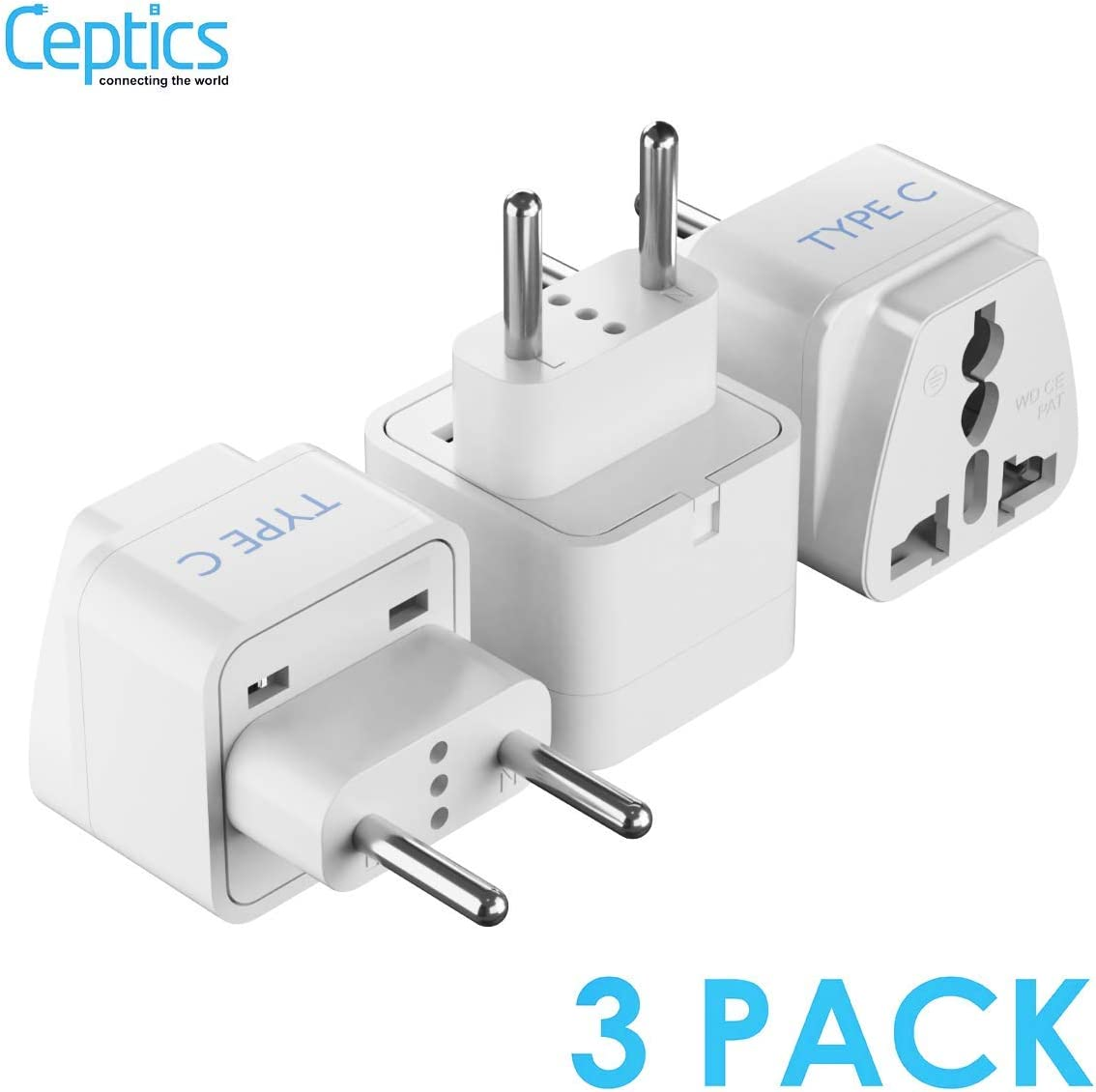 USA Input European Egypt Travel Adapter Plug by Ceptics with Dual USB Cameras and More Light Weight Europe Chargers Perfect for Cell Phones Type C 2 Pack