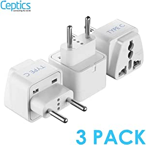 Ceptics AUS to Europe (most continental European countries) Universal Travel Plug Adapter (Type C) - Charge your Cell Phones, Laptops, Tablets - Non-Grounded - 3 Pack (GP-9C-3PK)