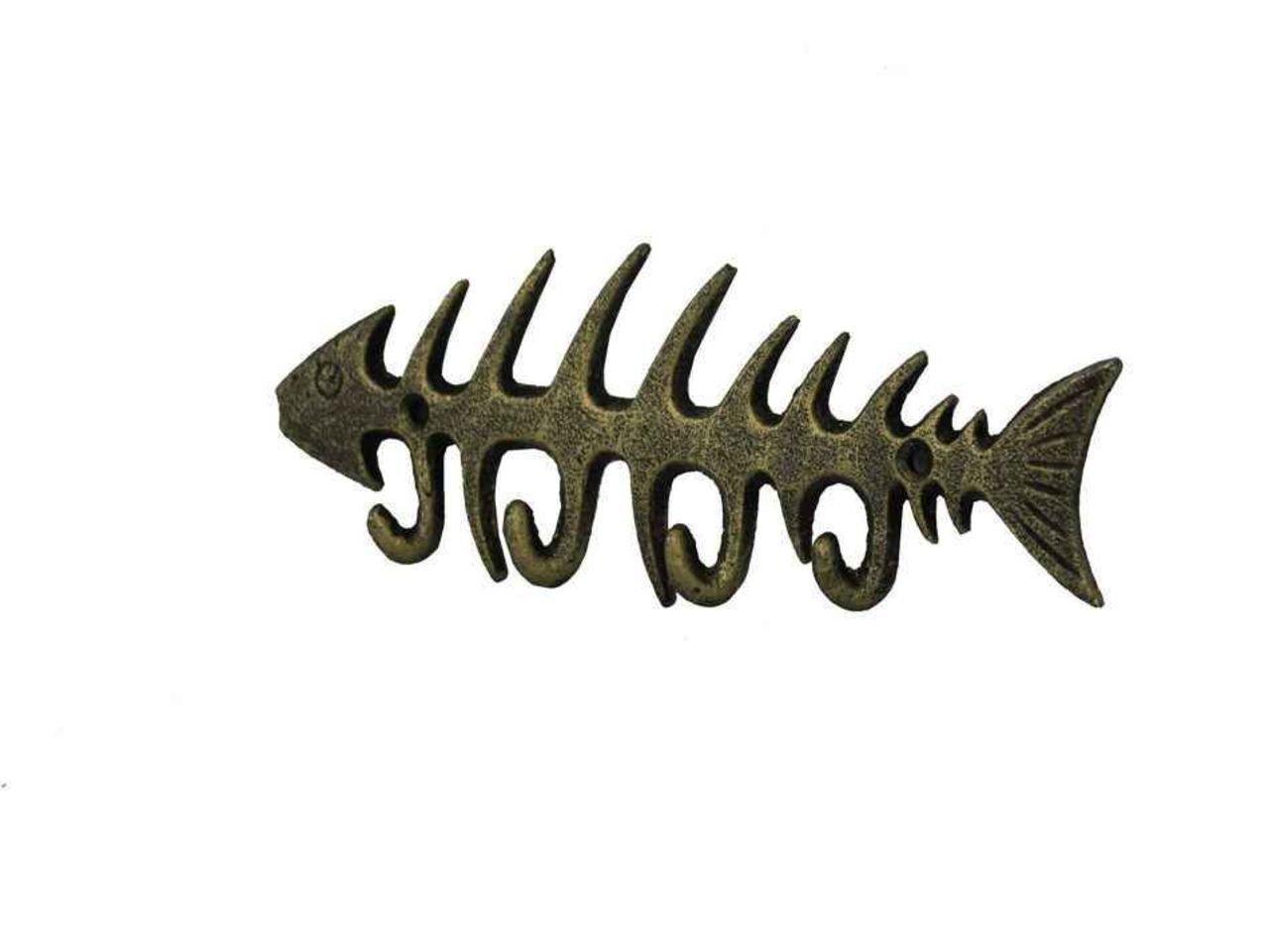 Hampton Nautical  Cast Iron Fish Bone Rustic Wall Art Key Rack Antique White 8 Handcrafted Nautical Decor K-0407-AW 8