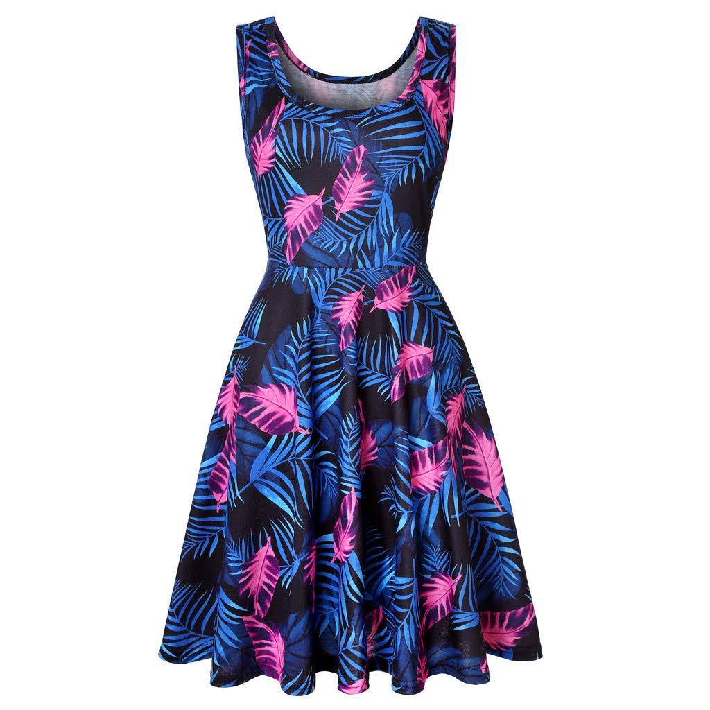 Rexinte Women's Sleeveless A line Waistline Midi Dress Casual Flared Tank Dresses Palm Print Puffy Gown(Blue,XL by Rexinte