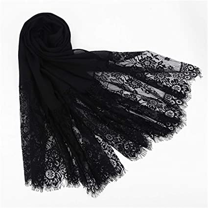 Women Floral Lace Edges Shawl Cotton Muslim Scarves Scarf Plain Soft Maxi Scarf