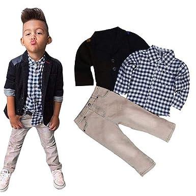 02b19199221f feiXIANG Kinder Jungen Anzug + Hemd Tops + Hosen Kleidung Outfits Set Kinder  Kinderkleidung  Amazon.de  Bekleidung