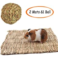 Grass Mat,Woven Bed Mat for Small Animal,Chew Toy Bed Play Ball for Guinea Pig Parrot Rabbit Bunny Hamster 3 Pcs