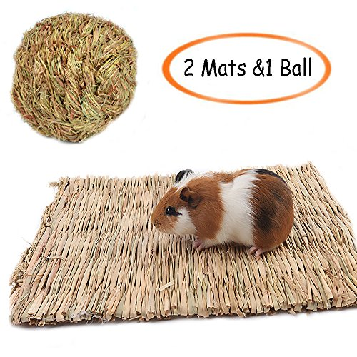 Medium Grass Ball - Grass Mat Woven Bed Mat for Small Animal,Chew Toy Bed Play Ball for Guinea Pig Parrot Rabbit Bunny Hamster (2 Grass Mat and 1 Ball)