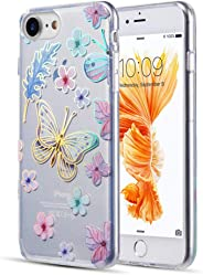 Luxmo Funda Case para iPhone 8 and iPhone 7 Protector Candy Tornasol, Color Mariposas