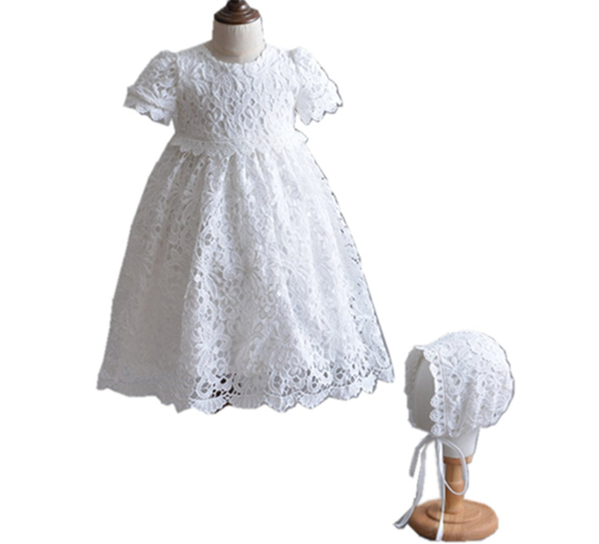 HX Baby Girl's Princess Lace Short Sleeve Christening Baptism Gowns Long Dress with Bonnet