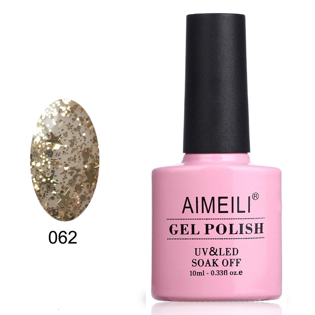 AIMEILI Soak Off UV LED Gel Nail Polish - Golden Superstar Glitter (062) 10ml