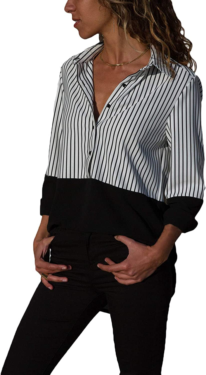 Tasamol Womens Casual Color Block Button Down Striped V Neck Loose Blouses Tops