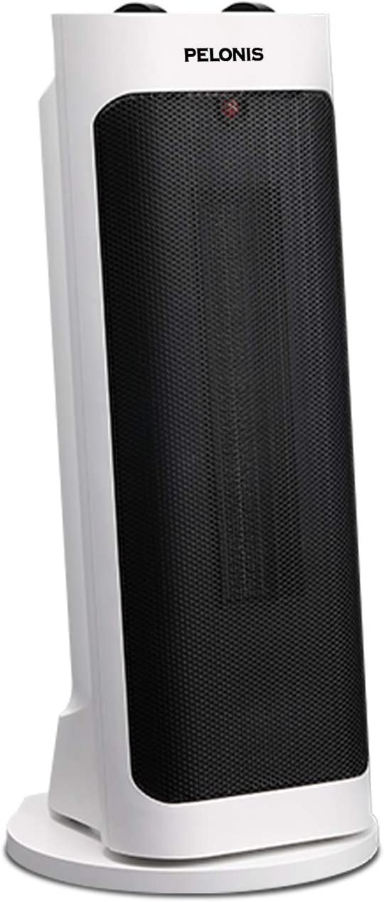 Pelonis PH-19J Pisa Tower Portable Ceramic Space Heater, 1500W Fast Heating, Programmable Thermostat, Easy Control, Widespread Oscillation, Over Heating & Tip-Over Switch Protection, Fan, White