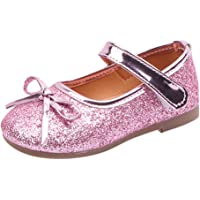 for 1-6 Years Old Kids Girls Princess Shoes Bow Bling Sequins Party Wedding Shoes Toddler Infant Non-Slip Mary Janes Soft Sole Shallow Light Single Shoes Sandals