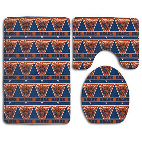 - Marrytiny Design Colorful Non Slip 3 Piece Doormat American Football Team Chicago Bears Anti-Skid Bathroom Rug Set Bath Mat + Contour Rug + Toilet Lid Cover