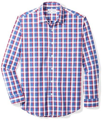 Amazon Essentials Mens Regular-Fit Long-Sleeve Plaid Shirt