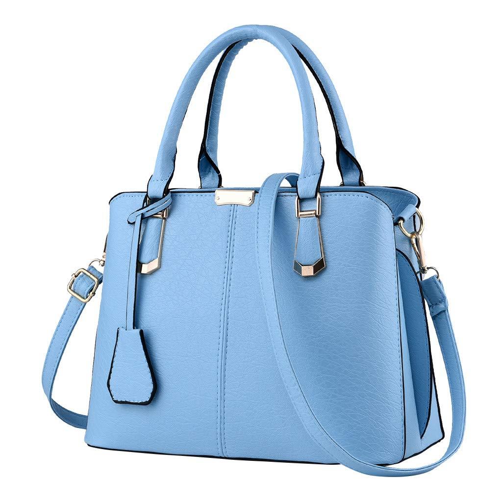 Shoulder Bags,AgrinTol Women Large Capacity Simple Fashion Top Handle Satchel Tote Purse (Sky Blue) by Agrintol_Fashion Bags