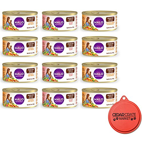 Halo Spot Bundle Stew Grain-Free Canned Wet Cat Food Variety Pack - 5.5 Ounces - 3 Flavors - Salmon, Chicken & Shrimp, and Chicken & Beef (12 Total Cans) with Can Topper