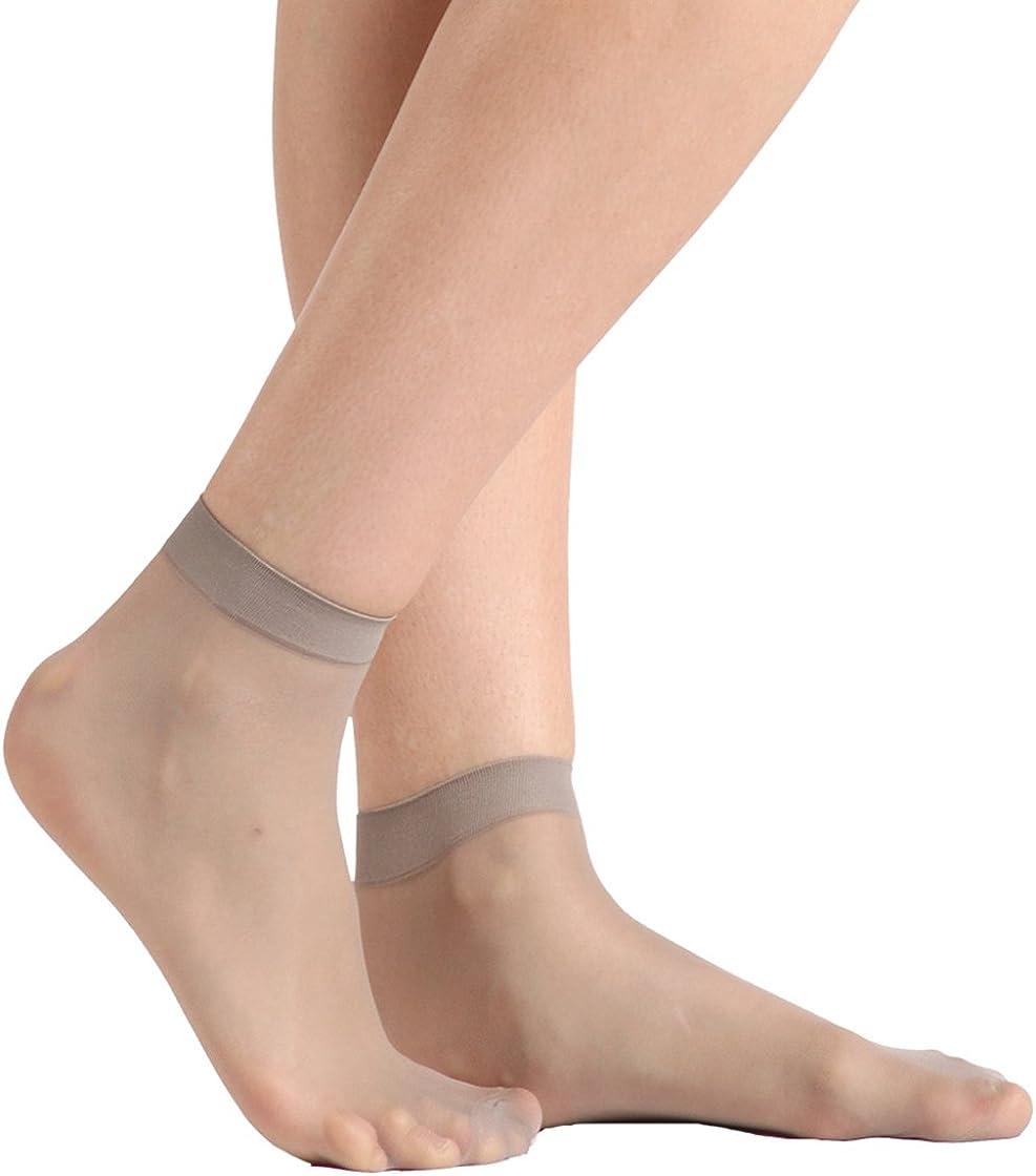 Ankle High Nylons Hosiery for Women Stockings Office Socks Hosiery Socks Breathable Socks 16 Pairs Smooth Knit Anklets Grey1 INCHER Women Socks Transparent