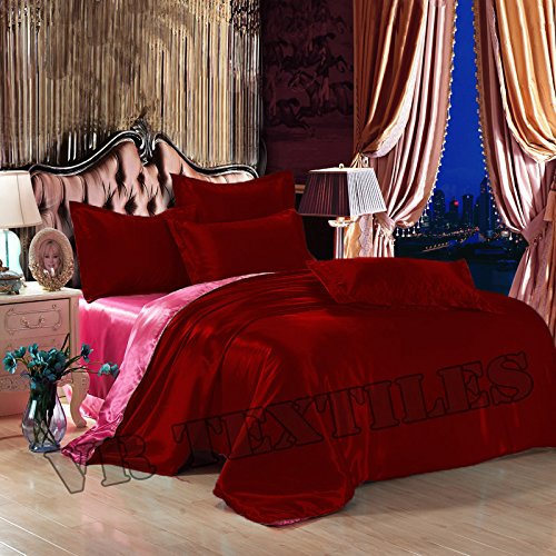 VR Textiles 100% silky Satin Reversible 6 PC 14'' Bedding Set( 1 Duvet Cover + 4 Pillow Cover + 1 Fitted Sheet) King Burgendy & Pink (Satin 9081)