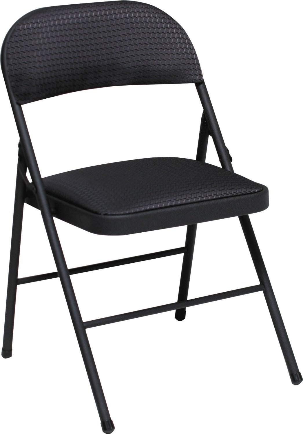 Fabric Seat and Back Folding Chair in Black Set of 4 Set of 4 Color Black