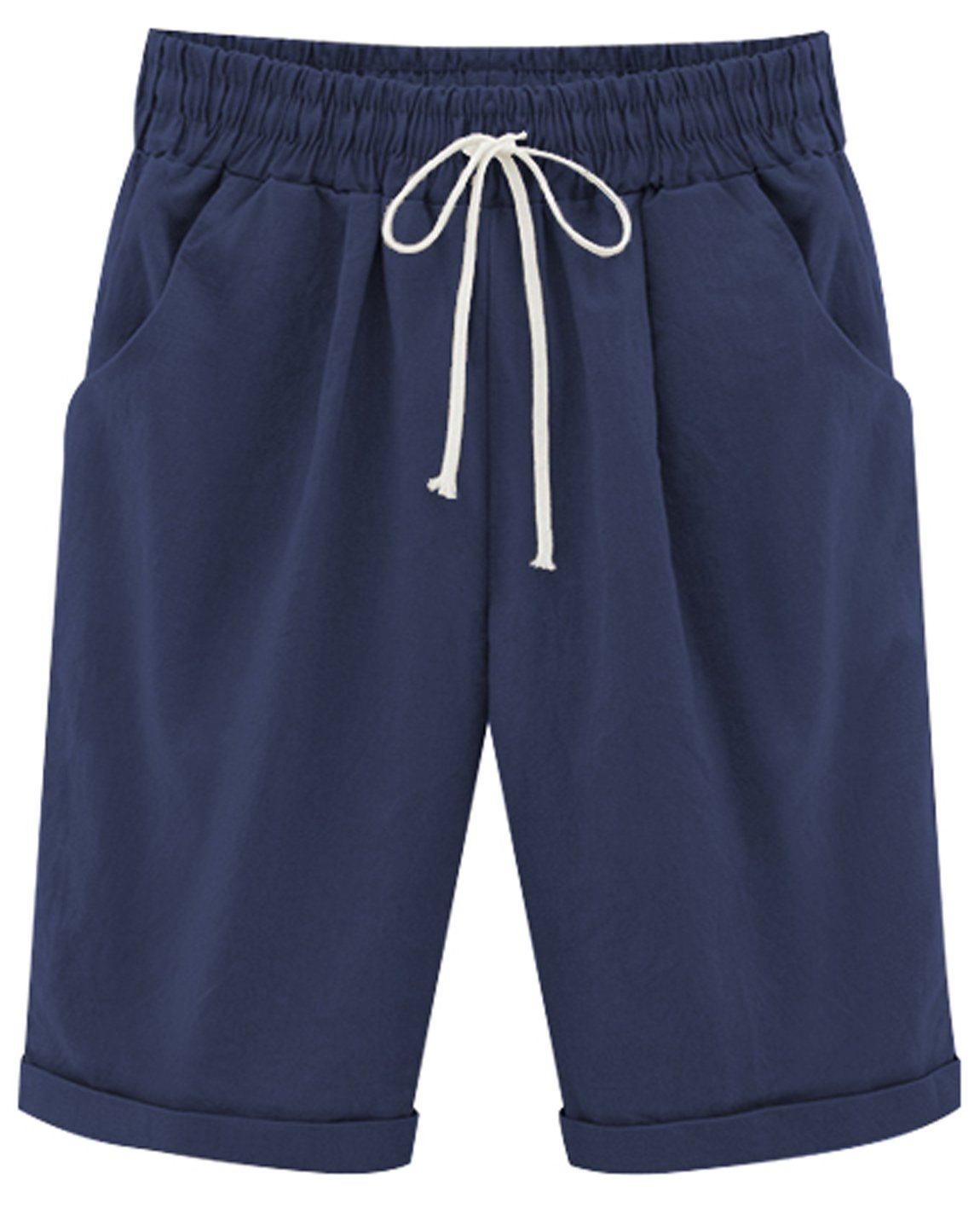 HOW'ON Women's Casual Elastic Waist Knee-Length Curling Bermuda Shorts with Drawstring Navy L by HOW'ON (Image #1)
