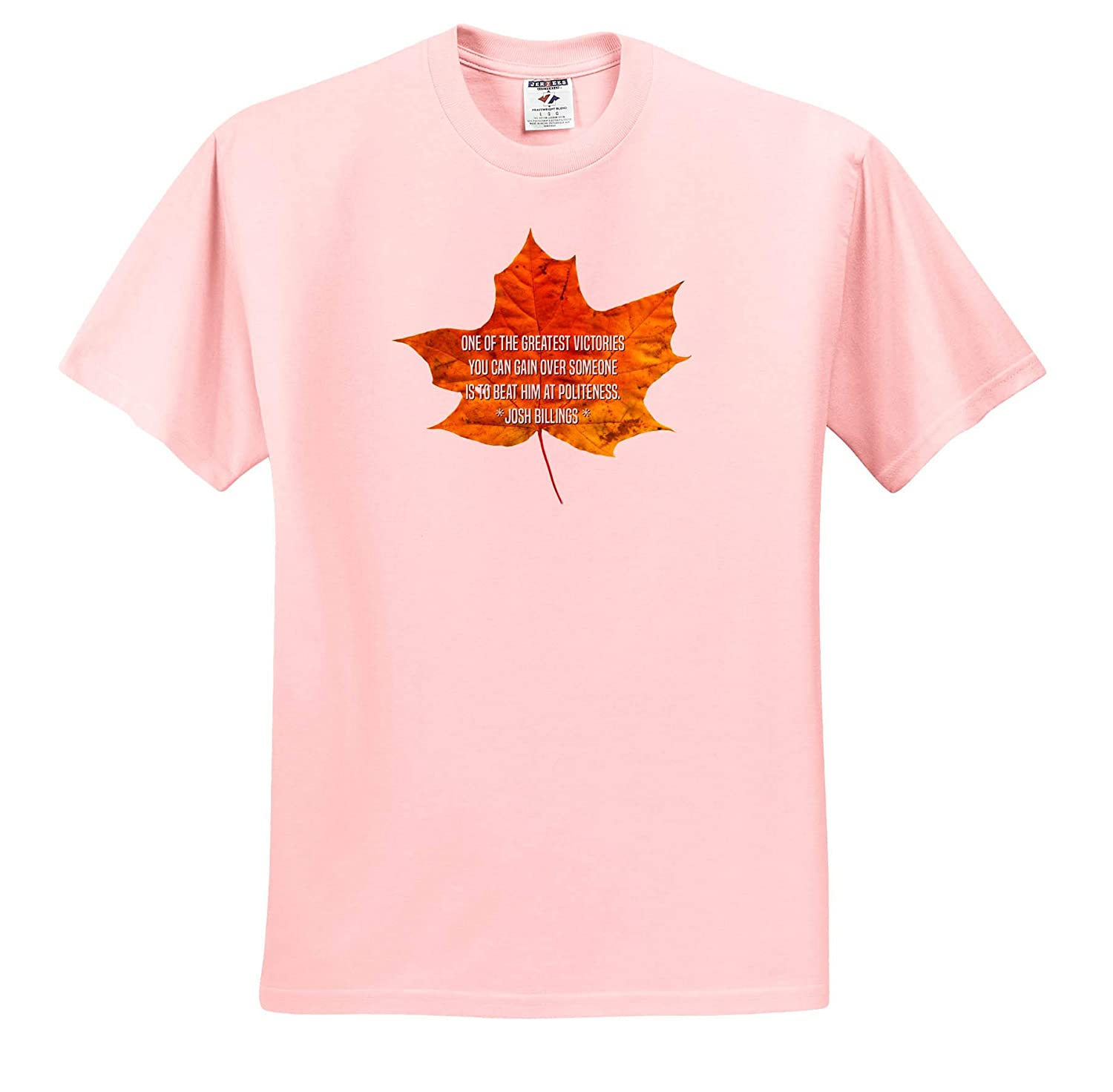 3dRose Alexis Design - T-Shirts Maple Leaf and The Text One of The Greatest Victories You can gain Quotes Josh Billing