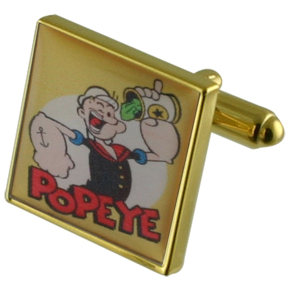 Select Gifts Popeye Cartoon Gold-Tone Square Cufflinks with Engraved Personalised Case