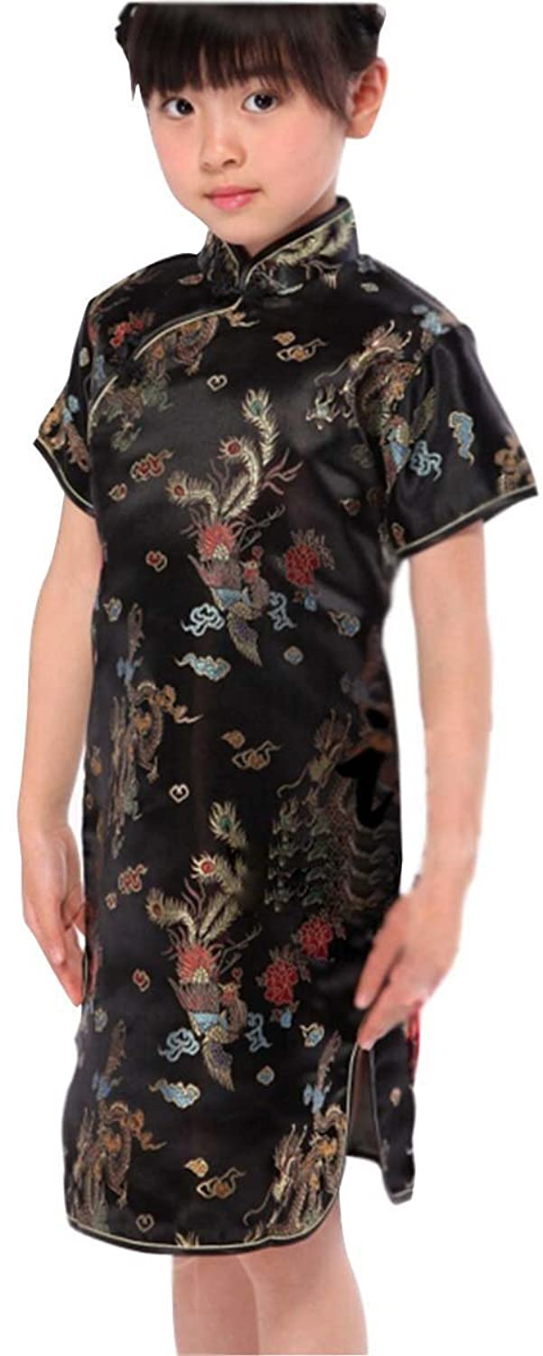 Blingland Dragon Chinese Cheongsam Dresses Mini Dresses for Girls