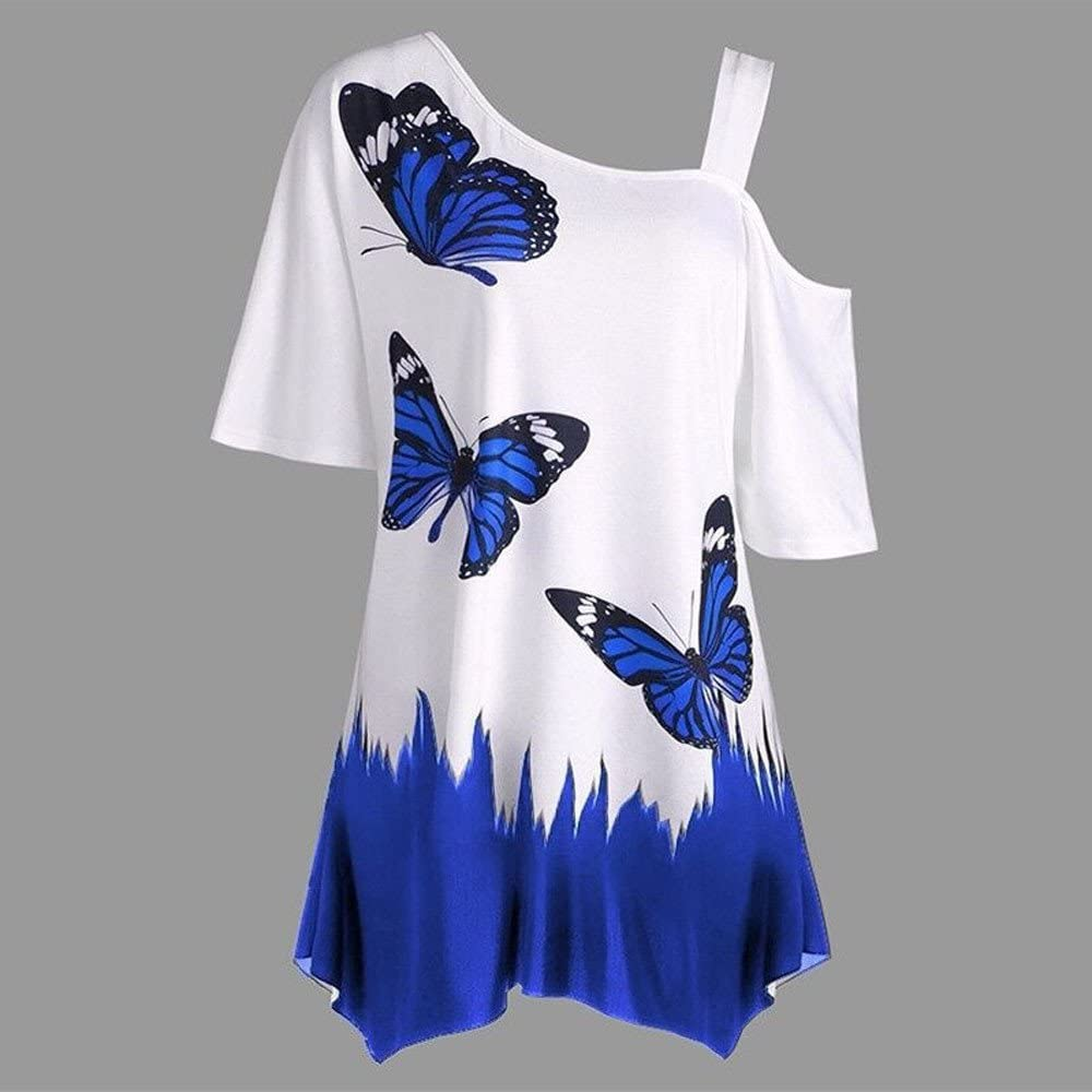 Women Cold Shoulder Oversized Short Sleeve T Shirt Butterfly Front Knot Twist Tunic Tops S-5XL