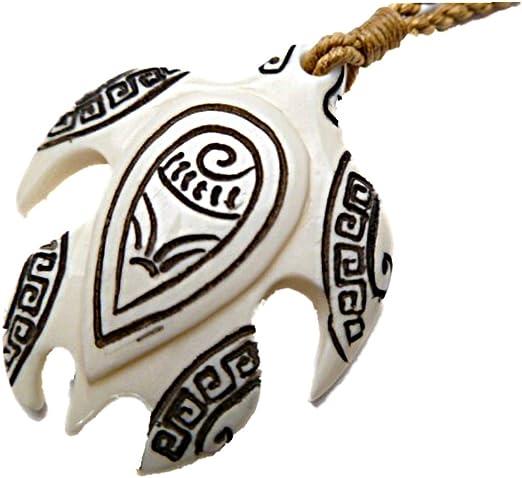 Amazon Com Hawaiian Honu Tribal Tattooed Sea Turtle Carved Bone Pendant Necklace Clothing