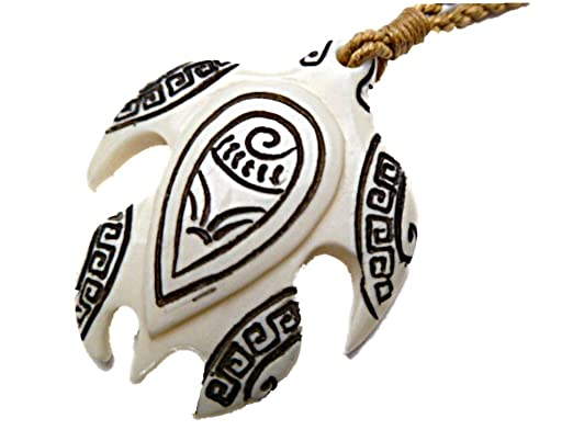 Amazon hawaiian honu tribal tattooed sea turtle carved bone hawaiian honu tribal tattooed sea turtle carved bone pendant necklace aloadofball Gallery
